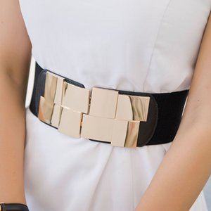 HIgh Quality Female Wide Belt Waistband Multicolor Square Buckle Dress Decorative Belt Women's Slim Elastic Bigsweety
