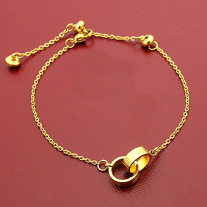 2019 luxe mode bracelets corde main Marque petite double anneau en acier de titane rose 18K femmes d'or amour bracelet couple