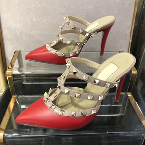HOT! Big Size women high heels sandals wedding shoes Leather rivets Sandals Women Studded Strappy Dress Shoes v high heel Shoes Heel 9.5cm