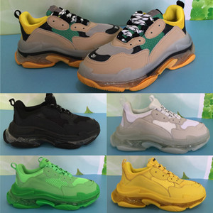 Designer Triple S Cristal Sole Or Hommes Femmes Chaussures Paris Triple-S Runner Casual Sneakers Sole Effacer la mode Plate-forme Luxe Chaussures 5-11