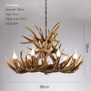 Antlers Résine Lustre Lampe LED moderne Antler Lustre Lustre Lustres E14 Vintage lumières pendentif nouveauté éclairage lumières de Noël