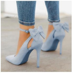 2020 New women high heels bow pumps sexy stiletto pointed toe fashion party pumps ladies wedding shoes