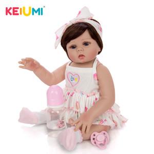 KEIUMI 45 см возрождается младенцы кукла все Силиконовый тела в коже загар реалистичные новорожденного младенца девочка кукла для продажи Детские подарочные день рождения может ванна Y200111