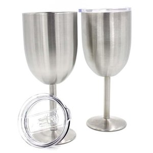 Stainless Steel Goblets Wine Cup Beer Coffee Wine Glass Double Layer 10OZ Wine With Lid Glasses DDA54
