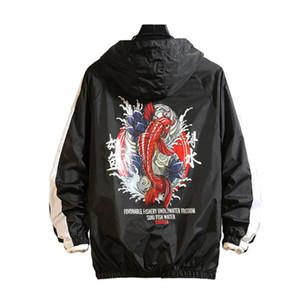 2020 İlkbahar Sonbahar Bombacı Kapşonlu Ceket Erkekler Rasgele İnce WINDBREAKER Coat Erkek Dış Giyim Fermuar İnce Moda Giyim ABD Boyutu 8XL