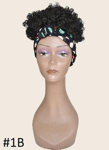 Short Turban Wig Blonde Synthetic Hair Bun Kinky Curly Hair Afro Puff Chignon For Black Women Heat Resistant Fiber