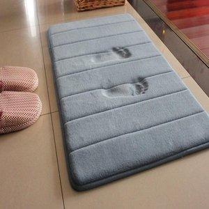 Alfombra antideslizante colchoneta de espuma de memoria manta suave de la puerta estera del piso del cuarto de baño Ducha alfombra de la estera antideslizante absorción Alfombra WC