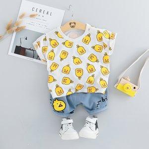 HYLKIDHUOSE 2019 verano ropa de los muchachos de los bebés Trajes niño infantil ropa fijan la camiseta Pantalones cortos niños de los niños del traje de vacaciones CX200628