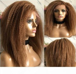 Celebrity Wig Lace Front Wig Kinky Straight Blonde Color #30 10A Grade European Virgin Remy Human Hair Full Lace Wigs for Black Women