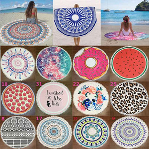 Round Beach Towel Blanket with tassel Hippie Indian Mandala Polyester wall hanging tapestry Boho Tablecloth Sunscreen Shawl Wrap Picnic Mat