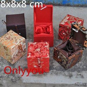Coffret cadeau en tissu de soie haut de gamme décoratif Chine Cube Petite boîte de rangement en bois Luxe Doux Carré Artisanat Pierre Boîte de Collecte 8x8x8 cm