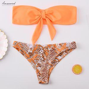 2020 Sexy Micro Bikini Swimwear Women Leopard Swimsuit Off Shoulder Front Tie Bikini Low Waist Bathing Suit Swimming Suit