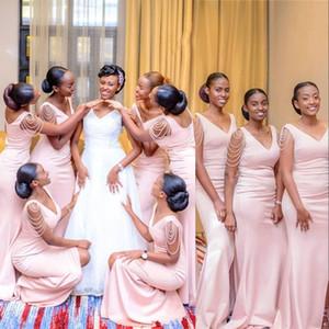 Baby Pink New African sirena vestidos de dama de cuello en V Perlas cremallera de la espalda Dividir la altura del tobillo más el tamaño de huésped de la boda Vestidos de dama de honor