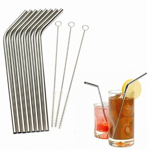 Metal Drinking Straws 304 Stainless Steel Eco Friendly Drinking Straw Reusable Straight Bent Straw for Bar Family kitchen