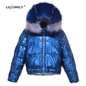 Lusumily Mode Frauen Glanz Silber Daunenjacken Große bunte Pelzkragen mit Kapuze Mantel und Jacke Warm Frauen Winter Short Parkas
