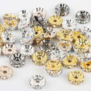 50pcs / lot 4 6 8 10mm Rose Gold Silver Color Rhinestone Rondelle Crystal Bead Made Handmake Jeweler Findings Loose Spacer Charm Beads