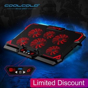 Cooling Pads Cooler 6 Fans Laptop Cooling Pad 2 USB Port with Led Screen 2600RPM for 14-17 inch Gaming Laptop