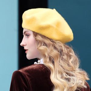 100% pura lana sombrero de la boina para el estilo británico de las mujeres de moda del color sólido de la boina de invierno Sombreros Mujeres Gorra Plana chica fieltro boinas