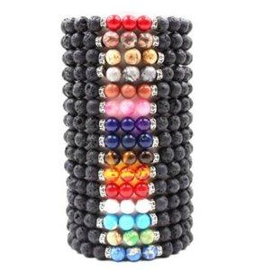 7 Chakra Lava Stone Bracciale Diffusore di olio essenziale Protezione Energy Healing Stretch Bracciale Uomo Donna Yoga Bracciali 18 colori