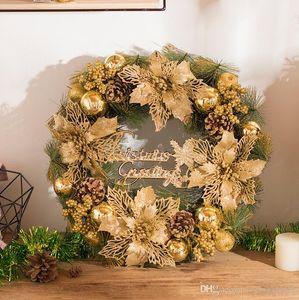 Рождественский венок новый украшение поставки Новогоднее украшение цветок золото изысканные двери висит окно макета украшения сцены