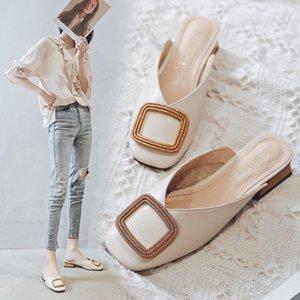 Designer Women Pumps Slippers Slip on Mules Low Heel Casual Shoes British Wooden Block Heels Summer Pumps Footwear Y200702