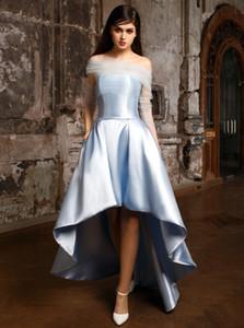 Prom Dresses raso asimmetrico 2020 nuovo progettista economici abiti Alto Basso sera con corpetto staccabile For Sale