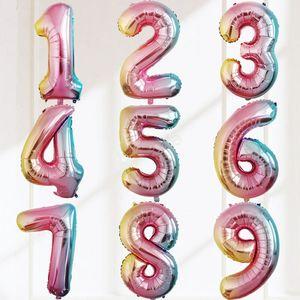 32 INÇ Balon Mutlu Doğum Günü Ayıklayacaktır Kutlama Dekorasyon renk değişikliği dairesel alüminyum Kaplama balon Numarası 0 Ila 9 100 adet LJJA2916