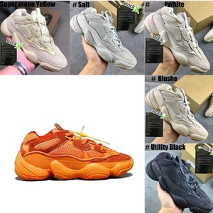 2020 New Kanye West 500 Chaussures Pierre douce Vision Desert Rat Hommes Femmes Chaussures de course os blanc sel fard à joues Utilitaire Sneakers Designer Noir
