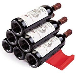 Wine Bottle Organizer Holder Silicone Stacker Cans Fridge Mats Beverages Racks refrigerator save space Kitchen Storage Shelf H5