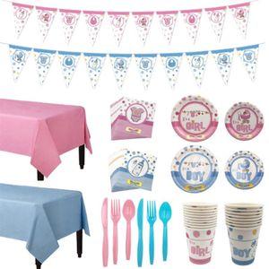 32pcs jetable de vaisselle mignon pour filles de garçon Jolie Birthday Party Arts de la table Set Party Plate __gVirt_NP_NN_NNPS<__ décoration Coupes Forks