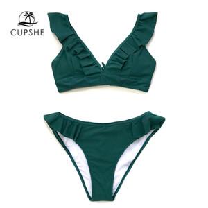 CUPSHE Sólido Verde Con Volantes Bikini Conjuntos Mujer con cordones Lindo Dos Piezas Trajes de baño 2019 Chica Playa Trajes de baño Traje de baño