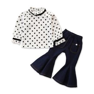 Neonate jeans suit bambini a maniche lunghe in chiffon a pois camicia Casual bambini vestiti delle ragazze Pantaloni Flare bambini vestiti del bambino 1-6T 060.528