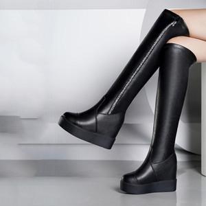 여성 솔리드 하이 부츠 허벅지 높은 무릎 위에 겨울 여성 신발 블랙 두꺼운 뒤꿈치 레이스 업 캐주얼 신발 2019 플러스 크기