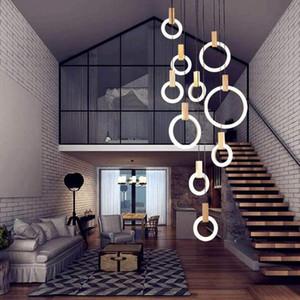 Modern circular pingente anel pendente luzes anéis claros Acrílico Comer Tabela candelabro altura ajustável LED madeira candelabro