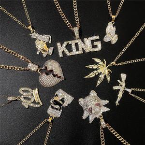 Hombres collar de joyas de moda de Hip Hop Corona León Número de cabeza y la letra de modelo cadenas pendientes collar de oro de Rhineston Accesorios INS