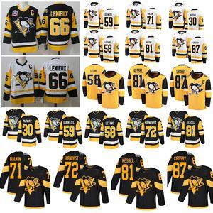 pinguins NHL Pittsburgh jerseys camisas de hóquei 87 Sidney Crosby 58 Prática Kris Letang 66 Mario Lemieux 71 Evgeni Malkin 30 Matt Murray
