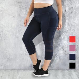 S-4XL Kadınlar Plus Size Cep Tayt Yoga Pantolon Spor Tozluklar Push Up Yüksek bel Siyah Spor Giyim Spor Çalıştır Egzersiz Y200106 Wear