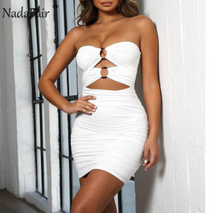 Vestido de verano al por mayor-Nadafair sin tirantes atractivo del vendaje de las mujeres sin respaldo ahueca hacia fuera el drapeado del club del partido ajustado de Vestido cruzado Mini Vestido