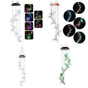 Cambiare colore solare Wind Chimes luna e le stelle Humming oggetti uccello Wind Chimes pendente della farfalla di Bell Yard Garden Home decorative LED