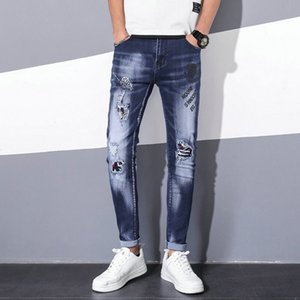 Tide brand summer ripped jeans male patch elastic feet personality trend printing fashion beggar pants tide designer jeans