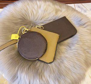TRIO chiave wallet M68756 tre pezzi delle donne della borsa classica di moda pacchetto Card wallet Zero hangbag uomini del sacchetto della signora Nuovo stile a zero