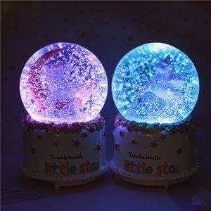 Dia caixa de música presente brilhante bola de cristal lua fantasia criativa amante do unicórnio casa decoração XD22944 dos Namorados