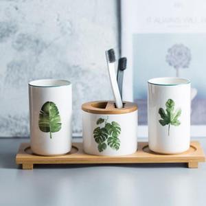 Lavagem multifuncional Cup Cerâmica Boca Copa do dentífrico porta-escovas Casal de lavagem Set Escovar Cup Tumblers de casa de banho