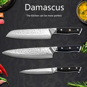 Cuchillo cocina de malla acero de Damasco VG10 , juego de tres cuchillos para chef Cuchillo cocina ,Kitchen knife ,chef's knife