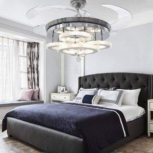 42-Zoll-LED-Deckenventilator-Fans Einziehbare Klingen Moderner Kristall-Kronleuchter-Fan mit 3 wechselnden Farben für Schlafzimmer, Wohnzimmer, Hotel
