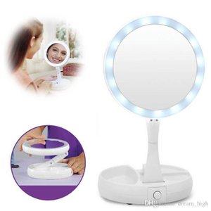 Maquiagem minha dobra Longe LED dupla face espelho rotação Folding USB Lighted Espelho Touch Screen Tabletop Lamp ajustável Espelho Cosmético