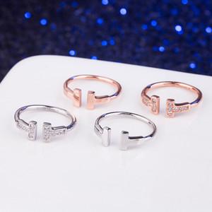 ارتفعت حقيقية 925 فضة تشيكوسلوفاكيا الماس خاتم الزواج مزدوجة T عصابة المجوهرات للمرأة حلقات محبي الذهب والفضة اللون