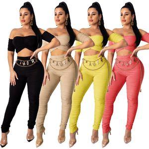 Womens Designer Tracksuit 짧은 소매 복장 까마귀 legging 2 피스 세트 스키니 스웨터 스타킹 스포츠 정장 풀오버 바지 KLW3448
