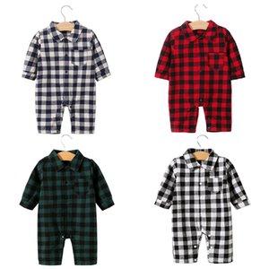 Ребенок Младенец мальчик конструктор для одежды Ползунки Комплекты BodySuit Lattice Long 100% хлопка высокого качества Мальчик девочка младенца Romper облечь Джентльменский