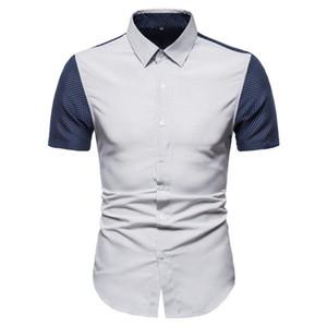 패션 남성 셔츠 디자이너 폴카 도트 패턴 셔츠 캐주얼 짧은 소매 패널로 컬러 셔츠 남성 의류